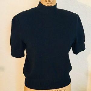 ST JOHN BASIC Black Short Sleeves Knit Sweater - P